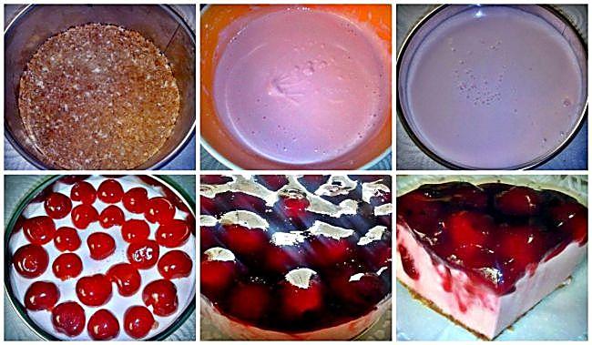 Preparación de la tarta de queso con cerezas