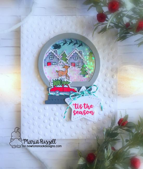 Shaker Card + Video by Maria Russell | Snow Globe Scenes Stamp Set and Snow Globe Shaker Die Set by Newton's Nook Designs #newtonsnook #handmade