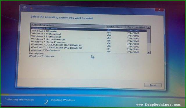 Tahap pemilihan beberapa versi Windows 7 yang di Inginkan