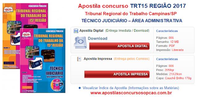 Apostila concurso TRT15 2017 para Técnico Judiciário - Área Administrativa