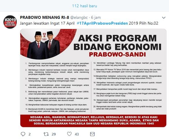 Aksi program bidang ekonomi Prabowo Sandi