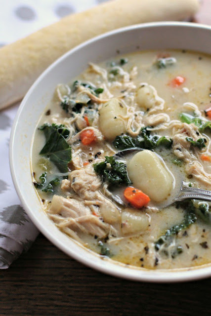Chicken and Kale Gnocchi Soup by The Magical Slow Cooker