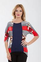Bluza lunga din jerse cu dungi B221 (Ama Fashion)