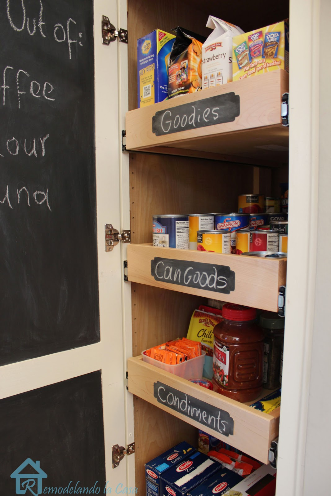 chalkboard doors in pantry