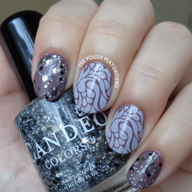 Purple Brown and Light Pink Stamping Nail Art