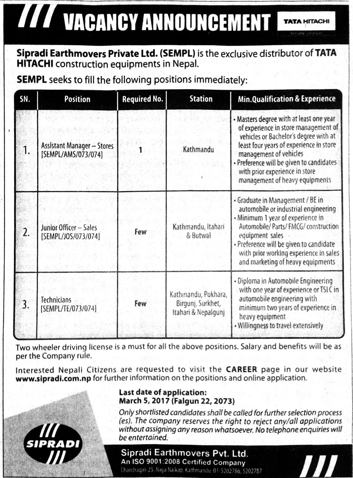 Job news in Nepal: Vacancy Announcement in Tata Hitachi Kathmandu, Nepal