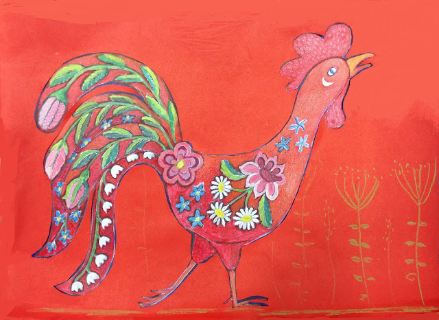 #AideLL #redfirerooster #yearoftheredfirerooster #illustration #painting #lihula #Flower #Embroidery