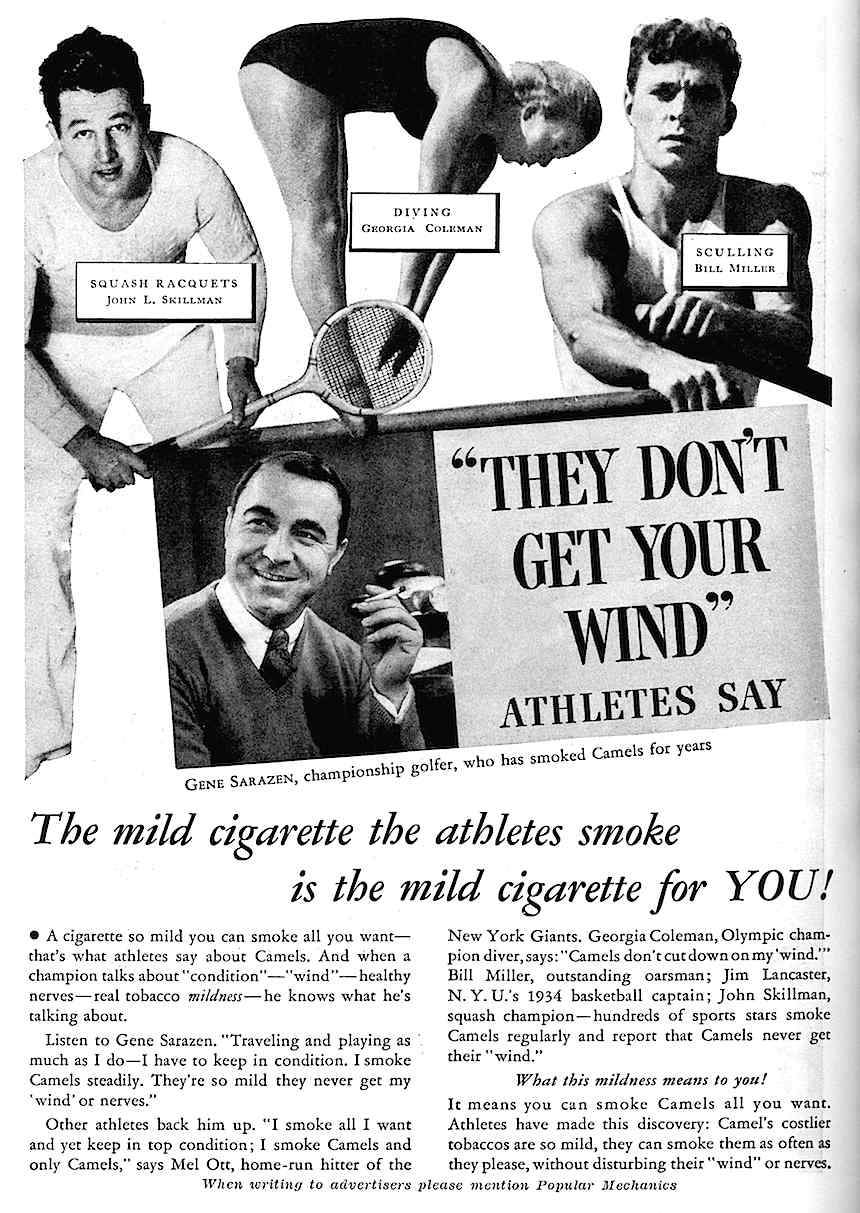 1934 athlete endorsements for Camel cigarettes advertisement