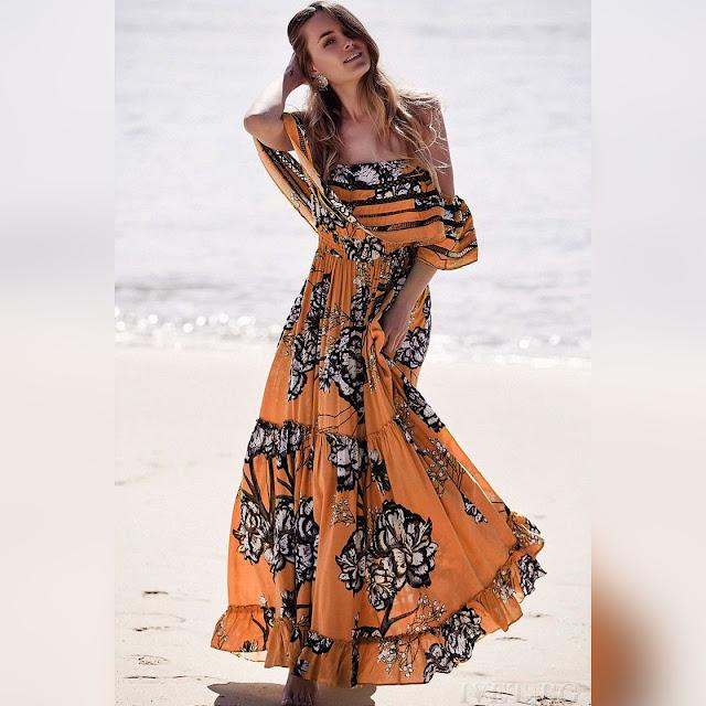 Μοντέρνο  μάξι φλοράλ φόρεμα KAMIRA