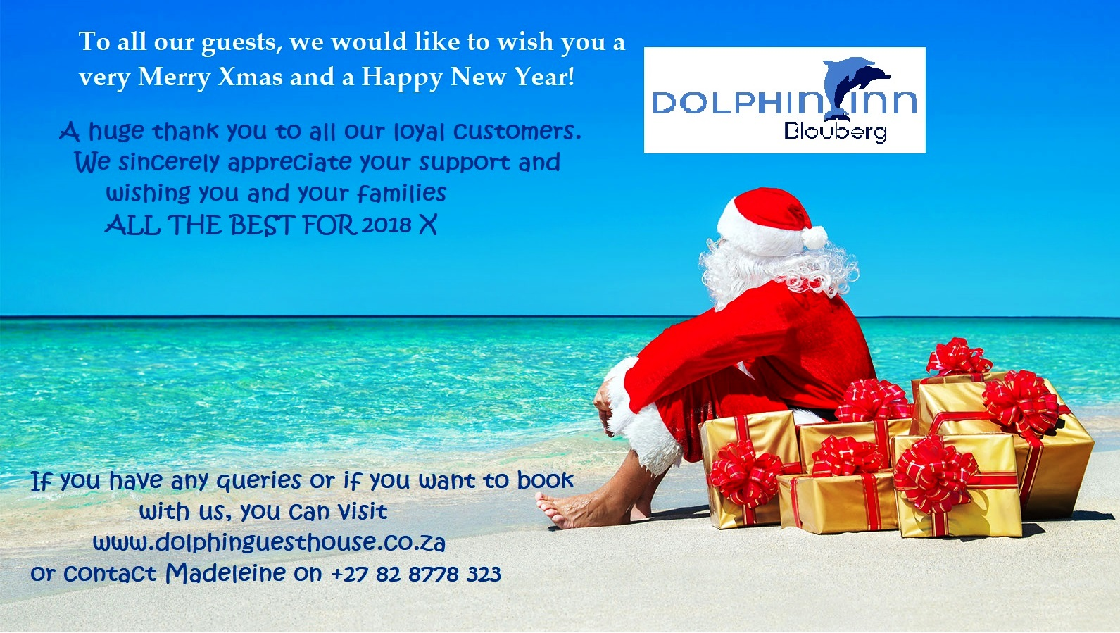 Dolphin inn and big bay homestay bloubergstrand thank you for thank you for your support during 2017 kristyandbryce Gallery