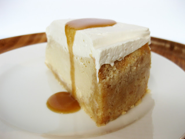 Photo of vanilla cheesecake and caramel, a great combination.