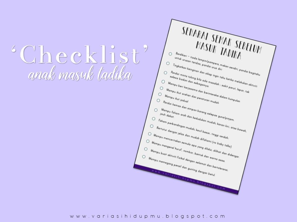 checklist sebelum masuk tadika