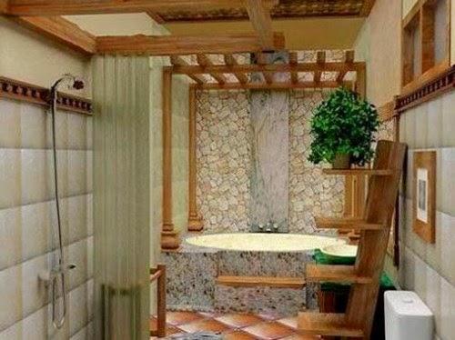 Desain kamar mandi batu alam masakini yang natural