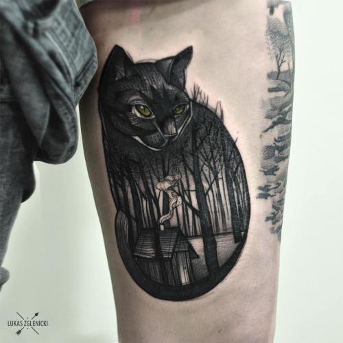 Amazing Thigh Cat Tattoos