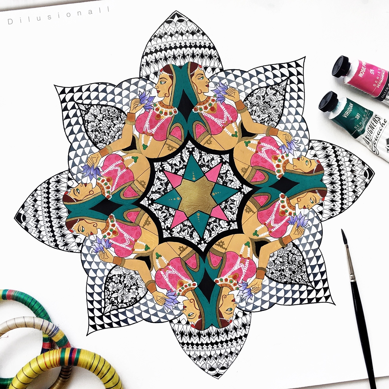 08-Indian-Miniature-Kaleidoscope-Dilrani-Kauris-Symmetry-and-Style-in-Mandala-and-Mehndi-Drawings-www-designstack-co
