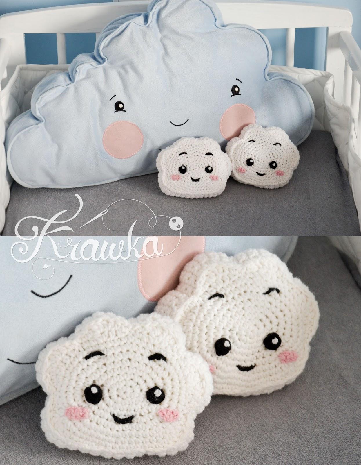 Krawka: Cute cloud mini pillow - free pattern