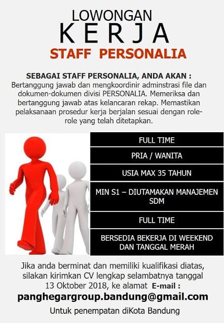 Lowongan Kerja Staff Personalia di Bandung