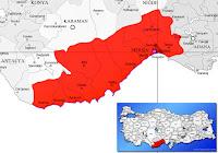 Akdeniz ilçesinin nerede olduğunu gösteren harita