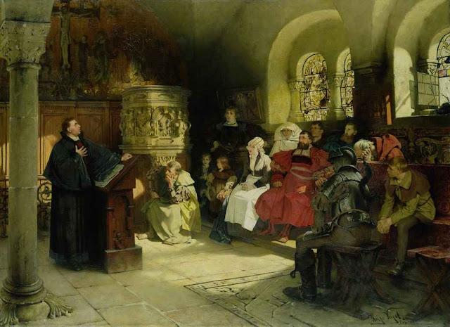 Martinho Lutero pregando no Castelo de Wartburg, quadro de Hugo Vogel (1855-1934)