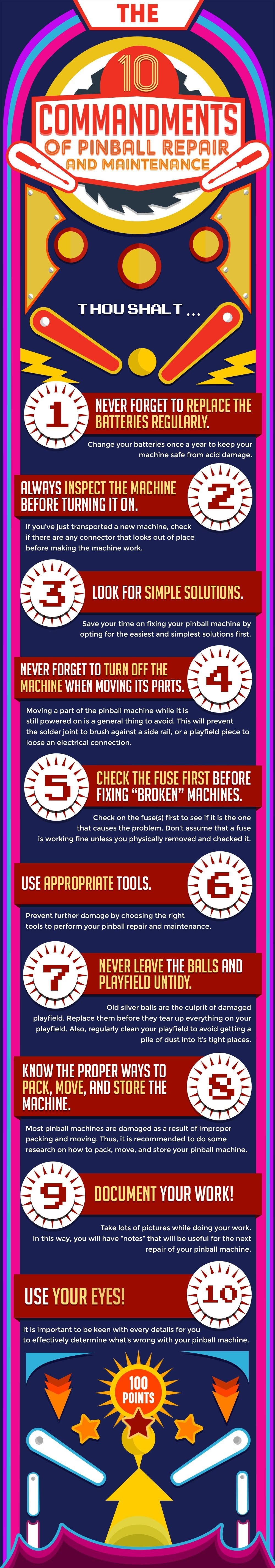 10 Commandments Of Pinball Repair And Maintenance #infographic
