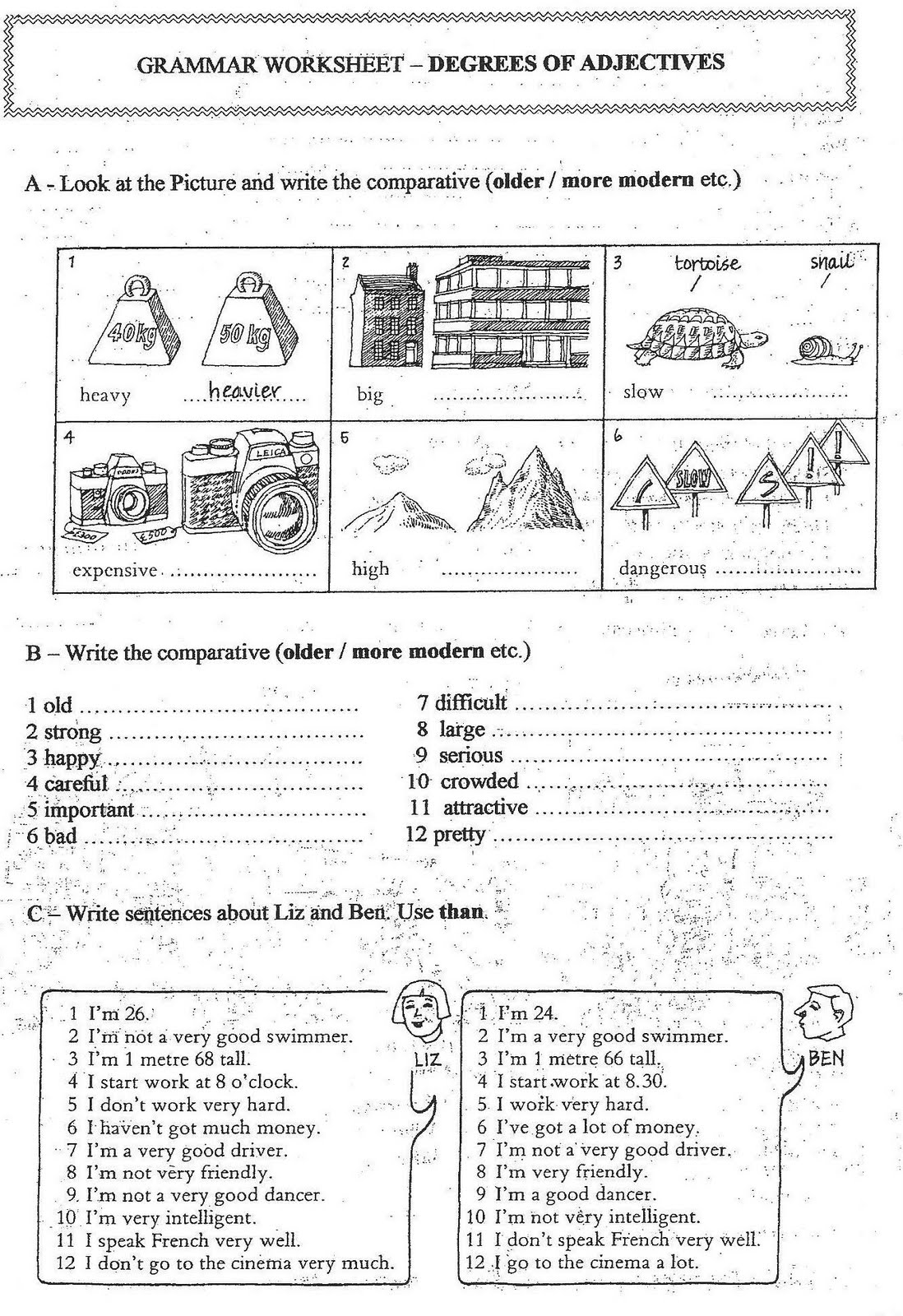 Degrees Of Adjectives Worksheet