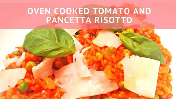 oven cooked tomato and pancetta risotto