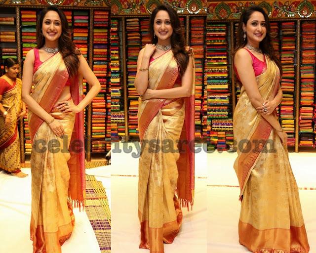 Pragya Jaiswal in Golden Silk Saree