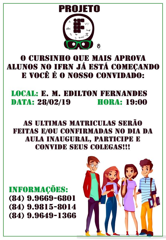 Marcelino Vieira: Preparatório para IFRN começa nesta quinta na Escola Edilton Fernandes