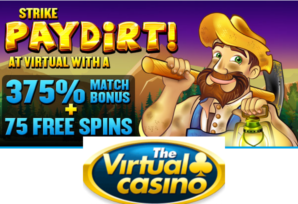 Get 375% Match Bonus and 75 Free Spins from The Virtual Casino