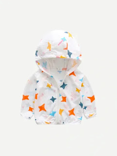 Boys Pentagram Print Hooded Jacket