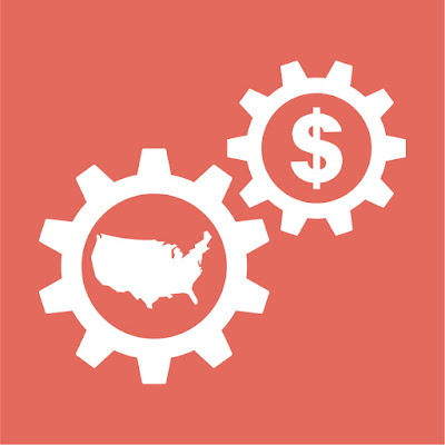 two gears meshing...one with a dollar sign, the other with a map of the US