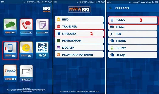 Cara Membeli Pulsa melalui BRI Mobile banking.