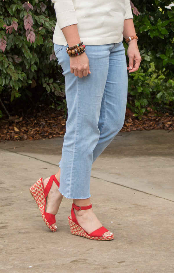 fringe hem jeans, red wedge sandals
