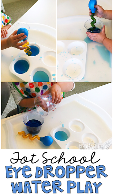 Use eye droppers to explore rain and develop fine motor strength with a weather theme. Great for tot school, preschool, or even kindergarten!