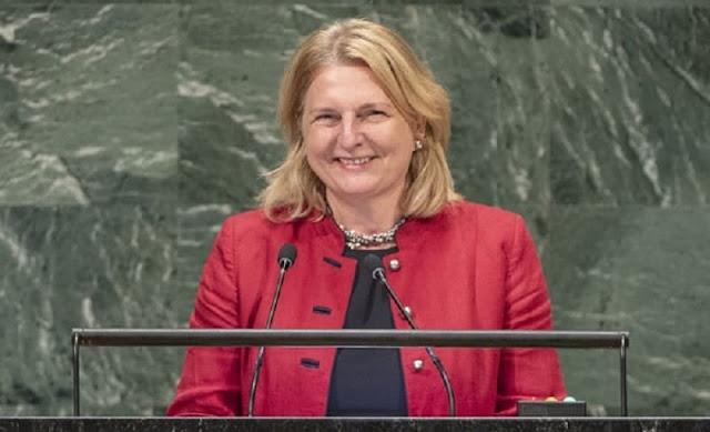 بالفيديو وزيرة خارجية النمسا تلقي كلمتها في الأمم المتحدة باللغة العربية!