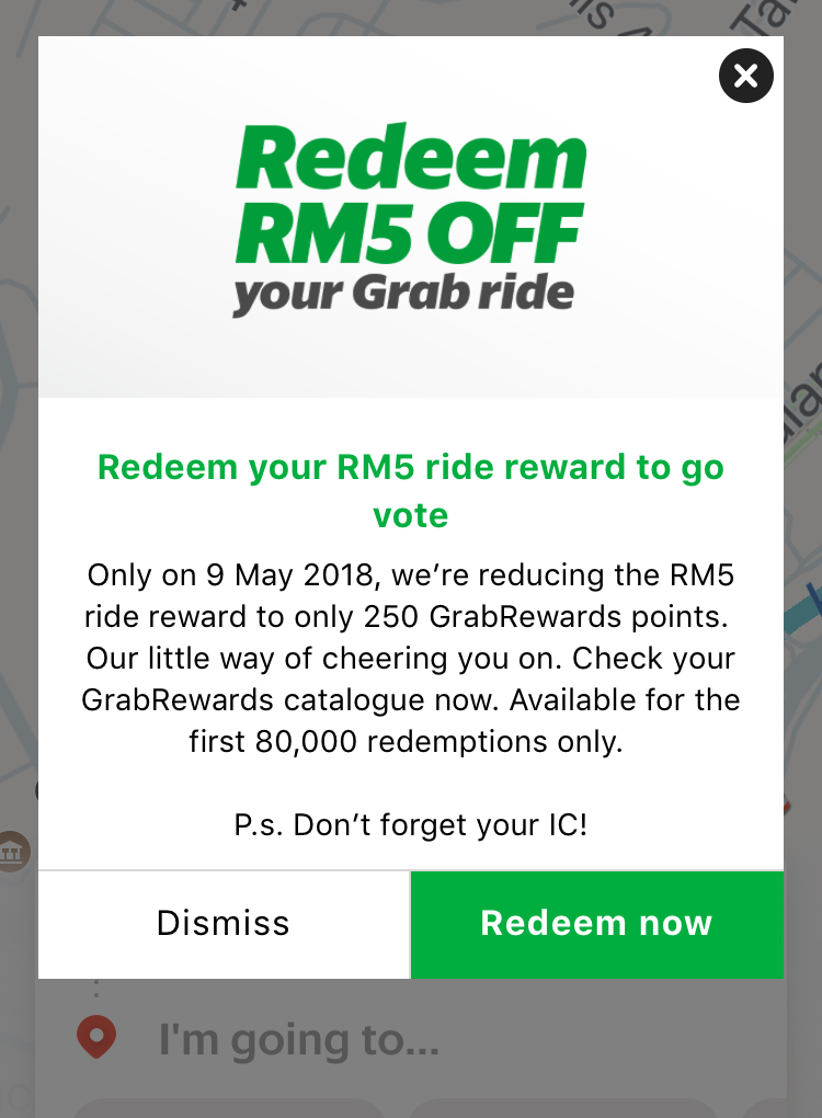 for grab riders promo value redeem rm5 off for one ride from grabrewards catalogue with only 250 points valid for rides to or from polling stations