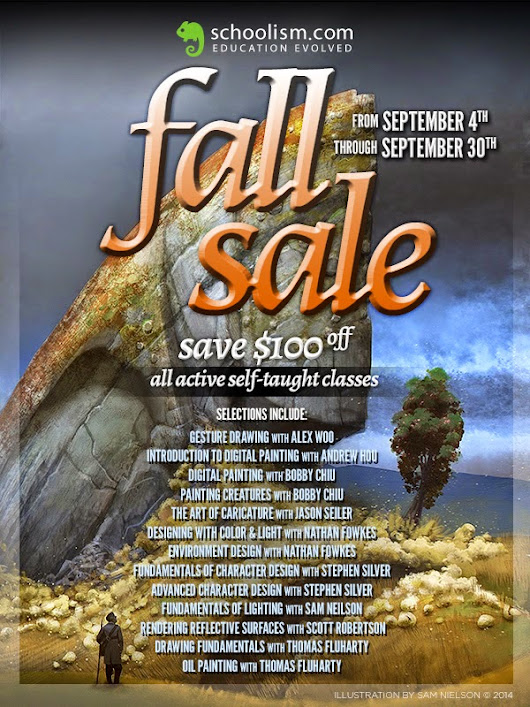 Schoolism Fall Sale. $100 off Self-Taught Classes