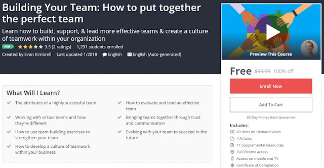 [100% Off] Building Your Team: How to put together the perfect team| Worth 99,99$