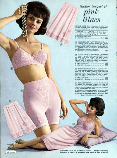 Adonna Lingerie Ad for pink slips, bras, panties