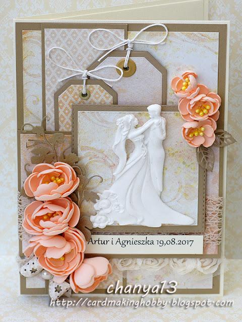 147. Kartka ślubna z nasturcjami