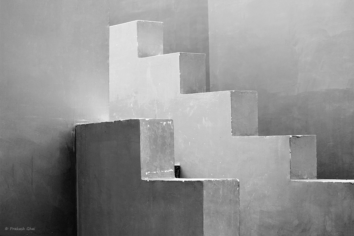 A Black and White Minimalist Photo of Unique Side Railings of Staircases at Jawahar Kala Kendra Jaipur