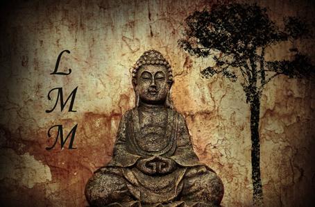 """Cette image montre une statue de pierre representant un homme en position du lotus, jambes croisees et mains posees devant l'abdomen. Le visage de l'homme, au yeux fermes et a l'expression neutre et denue de grimaces, expriment une grande serenite. Cette statue se trouve au centre de l'image et est entouree, sur la gauche, des celebres lettres LMM qui designent le grand poete Le Marginal Magnifique, et sur la droite d'un arbuste qui symbolise la nature et la vie. Ces elements s'affichent sur un fond beige teinte d'ocre qui renvoie a la terre et montrant encore une fois, apres l'arbrisseau, que la statue s'inscrit dans la nature et est en accord avec elle et les elements. Cette superbe image a la composition tres structuree et degageant un calme olympien, une immense serenite, accompagne le poeme """"Bodhi"""" du Marginal Magnifique dans lequel l'immense poete exprime, en quatre strophes et en une langue riche, inventive et musicale, son desir d'atteindre la sagesse a l'image des philosophes et sageges antiques tels que Confucius, Seneque, Socrate et Siddhartha le Bouddha. Chauqe strope s'appuie ainsi sur une de ces figures mythiques jusqu'a la derniere ou le poete exprime sa volonte d'atteindre l'Eveil, boddhi, comme Siddhartha le Bouddha. Encore un immense poete, riche de sens et dans sa construction, du Marginal Magnifique !!! Gageons qu'il fera date..."""