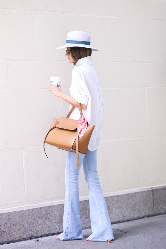 Something Navy - White Button Down, Celine Bag, Flare Jeans