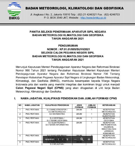 Lowongan Kerja CPNS Badan Meteorologi, Klimatologi, dan Geofisika (BMKG) Tahun 2021
