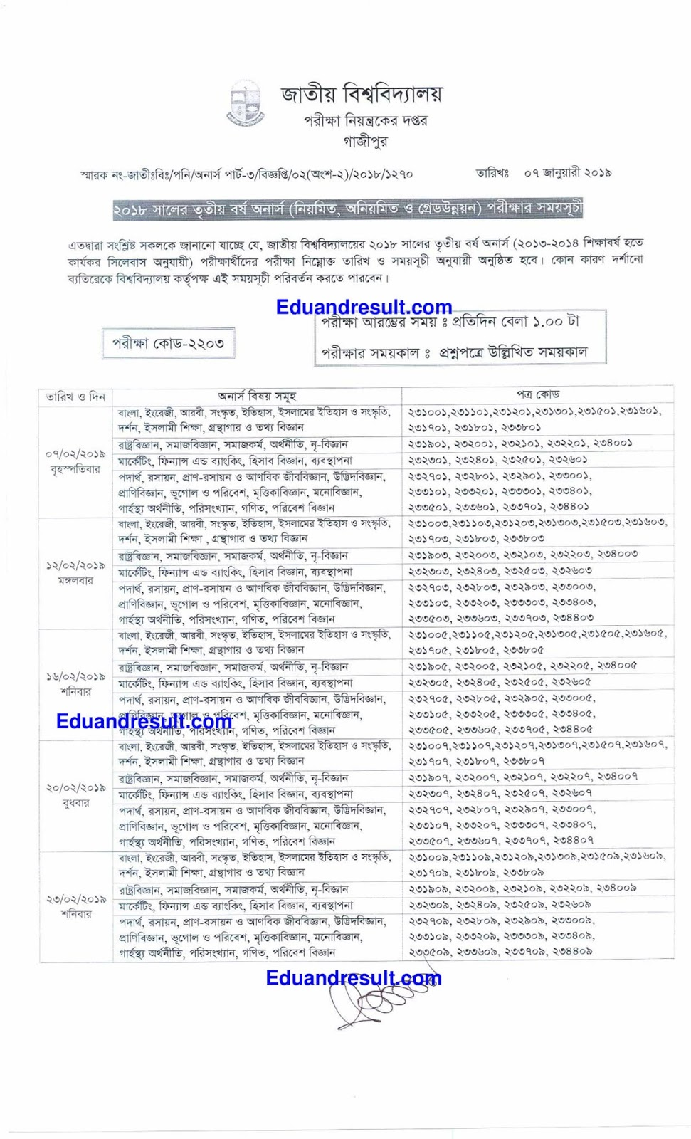 Honours 3rd Year Routine 2019 Session 2015-16