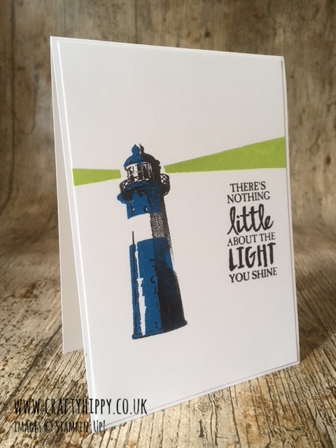 This image shows a pop-art style handmade card showing a lighthouse, made using the High Tide stamp set by Stampin' Up!