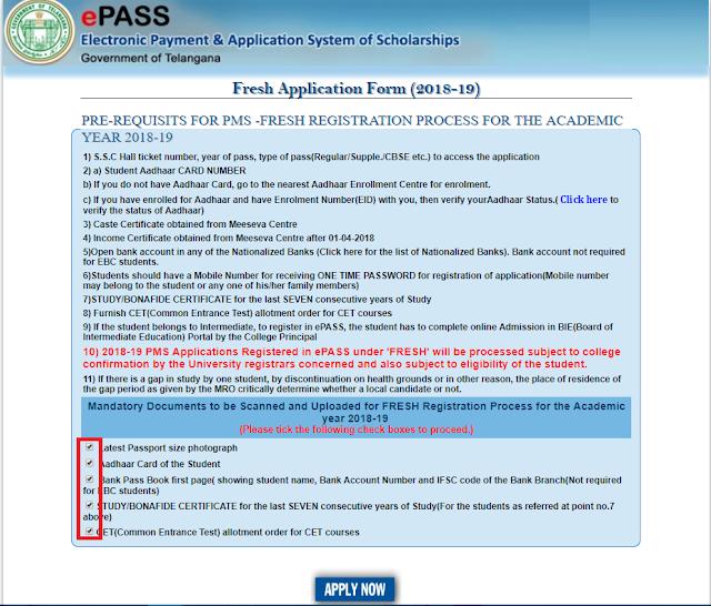 epass-Postmatric-Scholarships-For-Fresh-Registration-2019