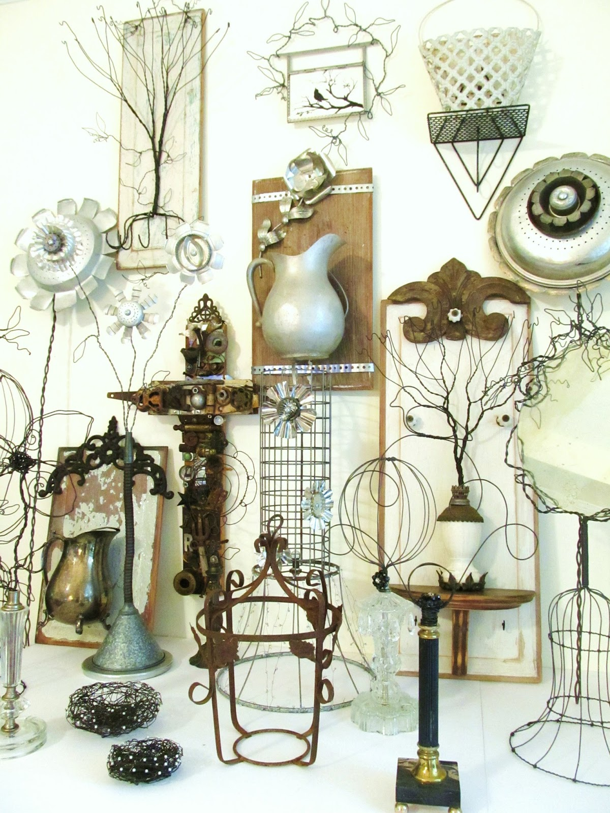 Sassytrash Vintage Wood Metal And Wire Collage