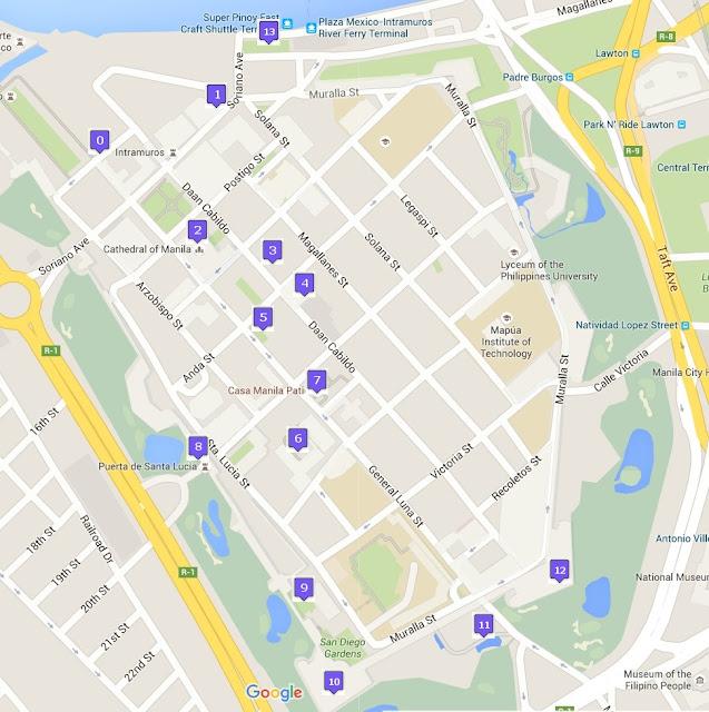 Itinerary, map, Intramuros, Manila, Philippines