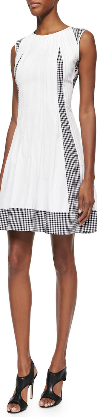 Diane von Furstenberg Solid/Gingham-Check Poplin Dress Black/White